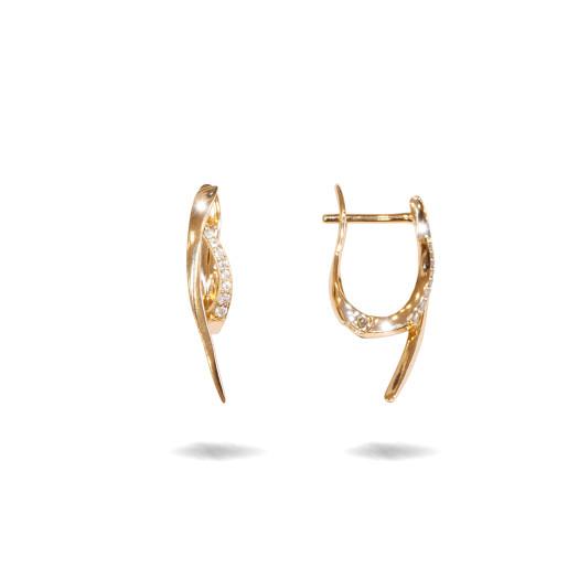 Fantasy , cercei placati cu aur 18 K, cu pietre zirconia montura micropave, inchidere clasica  - 7705O823
