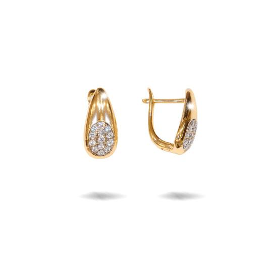 Cercei placati cu aur 18 K, cu pietre zirconia montura micropave , inchidere clasica  - 7706O822