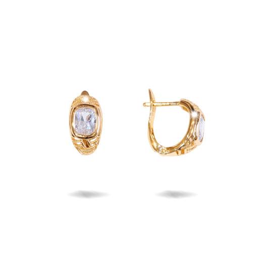 Cercei placati cu aur 18 K, cu o piatra zirconia multifatetata, inchidere clasica  - 7707O822