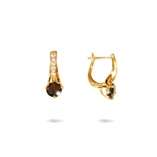 Cercei placati cu aur 18 K, cu o piatra zirconia neagra multifatetata,si piericele zirconia albe mici, inchidere clasica  - 7708O823