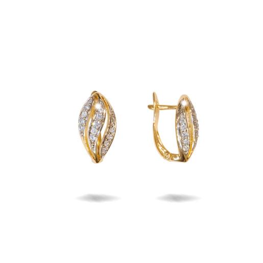 Cercei placati cu aur 18 K, cu pietre zirconia multifatetate, montura micropave , inchidere clasica  - 7709O823
