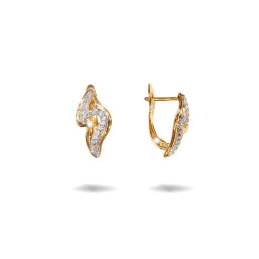 Cercei placati cu aur 18 K, cu pietre zirconia multifatetate, montura micropave , inchidere clasica  - 7710O823