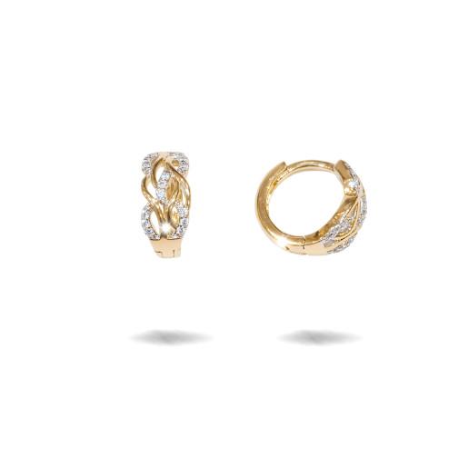 Cercei placati cu aur 18 K, cu pietre zirconia multifatetate, montura micropave ,model creola  - 7713O820