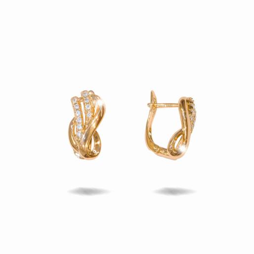 Cercei placati cu aur 18 K, cu pietre zirconia multifatetate, montura micropave , inchidere clasica  - 7714O822