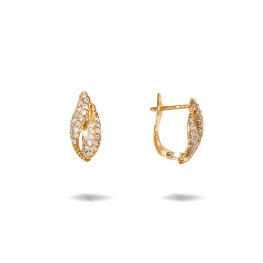 Cercei placati cu aur 18 K, cu pietre zirconia multifatetate, montura micropave , inchidere clasica  - 7715O822