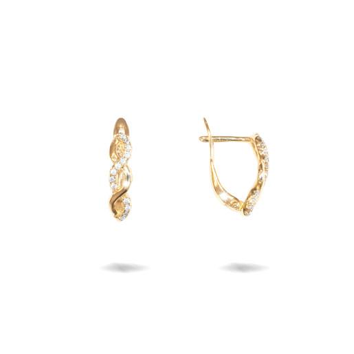 Cercei placati cu aur 18 K, cu pietre zirconia multifatetate, montura micropave , inchidere clasica  - 7716O818