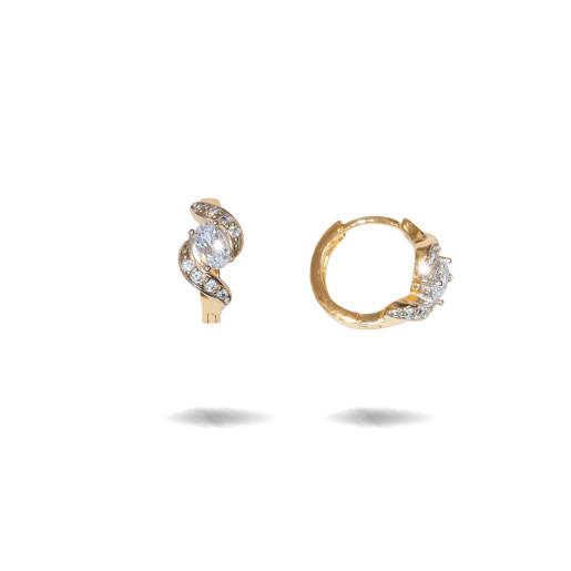 Two tone, cercei placati cu aur galben si alb 18 K, cu pietre zirconia multifatetate, montura micropave ,model creola  - 7717O817
