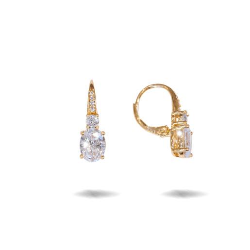 Cercei placati cu aur 18 K, cu pietre zirconia multifatetate, montura micropave si un cristal multifatetat, inchidere englezeasca cu arc  - 7722O823