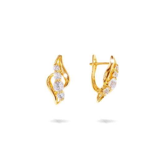 Cercei placati cu aur 18 K, 2 microni, cu pietre zirconia multifatetate - 7734O824