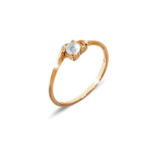 Inel placat cu aur de 18 K, colectia onlinebijoux, cu piatra zirconia alba, model Solitair ,7646O919
