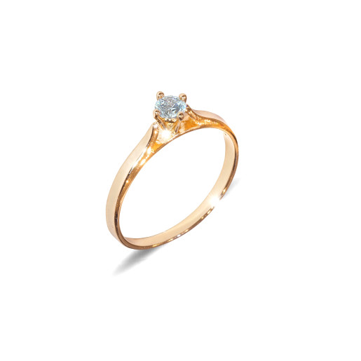 Inel placat cu aur de 18 K, colectia onlinebijoux, cu piatra zirconia alba, model Solitair ,7647O919