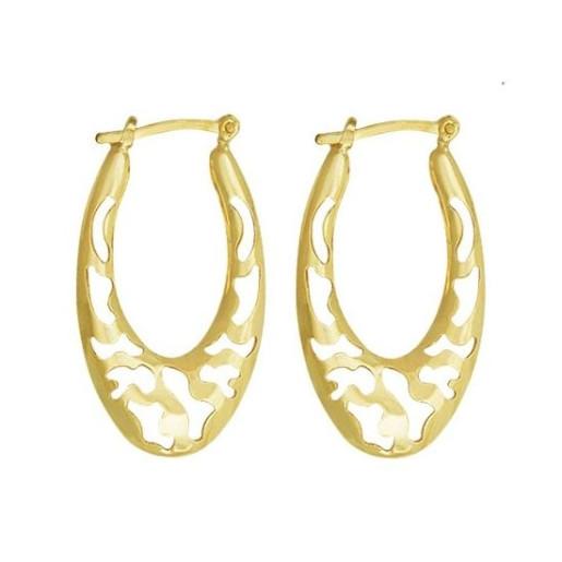 Cercei placati cu aur 18 K, productie Brazilia, model creola dantelata, 7591O819