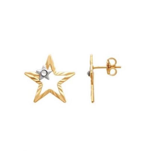 Cercei placati cu aur 18 K, productie Brazilia, Golden Star , 7599O815
