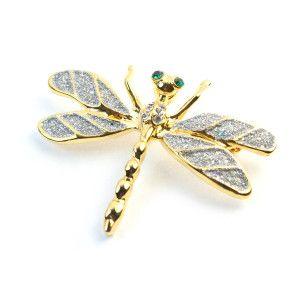 Libelula,brosa placata cu aur de 18 k, colectia Classics