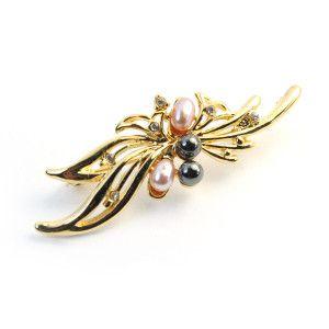 Pearl,brosa placata cu aur de 18 k, colectia Classics