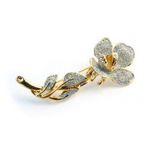 Diamond Flower ,brosa placata cu aur de 18 k, colectia Classics