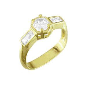 Solitaire, inel placat cu aur de 18 k, cu pietre zirconia