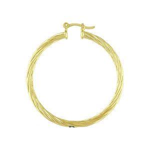 Cercei placati cu aur de 18 k, model creole rasucite , diametru 3,7 cm- 1357O820