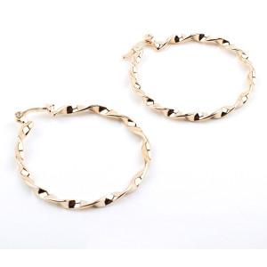 Cercei model creola rasucita , placati cu aur de 18 k , diametru  6 cm 2289O824