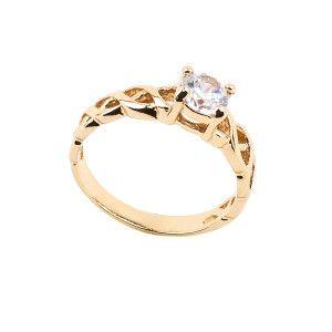 Clarissa, inel placat cu aur de 18 k , model siplu solitair