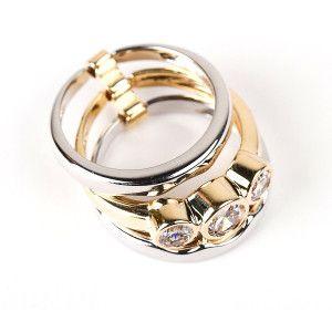 Double ring, inel placat cu aur de 18 k , productie Brazilia