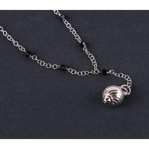 Colier argint 925 rodiat, design italian cu pietre onix-3603O373