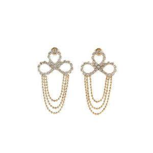 Amora, Cercei placati cu aur de 18 k, colectia Golden Shine Crystal