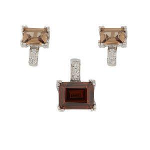 Set argint 925 rodiat. Colectia Milano, design italian: inel, cercei, pandant, cu pietre: zirconia - 5330O5230
