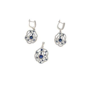 Blue safire, set argint 925, rodiat cu pietre zirconia albe si albastre
