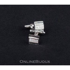 Butoni argint 925 rodiat, emailat, design italian. Pietre: zirconia- 5669O785