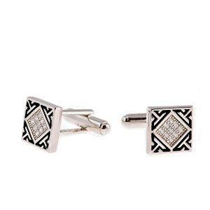 Butoni argint 925, rodiat, emailat, design italian - 5945O777