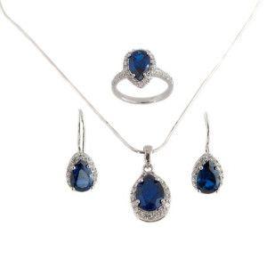 Set argint 925, design italian, rodiat cu cristal albastru imitatie safir