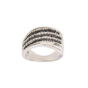 Inel argint 925 rodiat, design italian, colectia Two tone