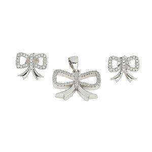 Set argint 925, rodiat, cu pietre zirconia albe, colectia casual