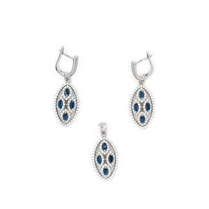 Set argint 925, design italian, cu pietre zirconia albe si albastre
