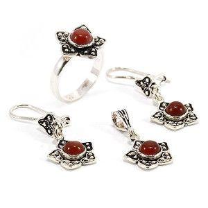 Set argint 925, partial innegrit, inel, cercei si pandantiv cu agate, maro cogniac - 6276O5115