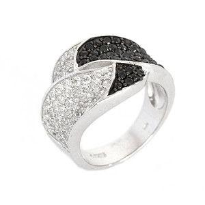 Emily, inel argint 925, rodiat, model Two tone
