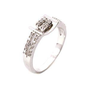 Inel argint 925, rodiat, model catarama, cu pietre zirconia albe