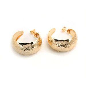 Cercei creole placati cu aur de 18 k, colectia Golden Shine - 642O821