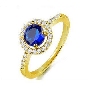 Inel placat cu aur de 18 k , colectia Solitair blue