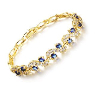 Beatrice, bratara placata cu aur de 18 k ,  colectia blue shine