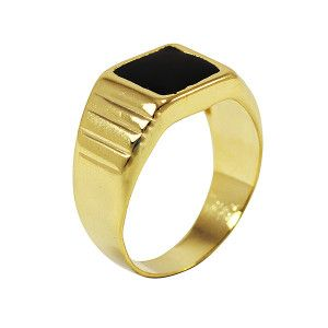 Inel model barbatesc, placat cu aur de 18 k, 2 microni