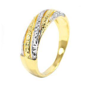 Inel Two tone , placat cu aur galben si alb de 18 k