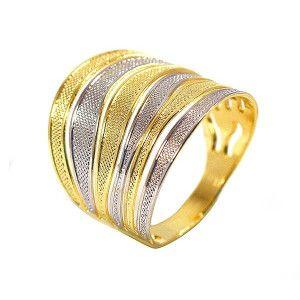 Inel placat cu aur de 18k, 2 microni, productie Brazilia, combinatie de aur alb si galben 6675O925
