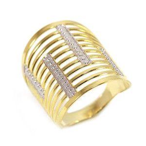 Inel placat cu aur de 18k, 2 microni, productie Brazilia, combinatie de aur alb si galben 6676O928