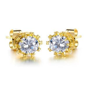 Cercei placati cu aur, colectia Golden Shine-6703O814