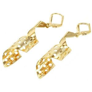 Cercei placati cu aur de 18k, 2 microni, productie Brazilia, colectia Golden Shine - 6738O816