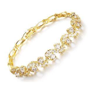 Crystal, bratara placata cu aur de 18 k, 2 microni, cu pietre zirconia albe