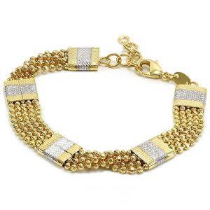Bratara placata cu aur de 18K, 2 microni, productie de lux Brazilia, cu cinci placute diamantate cu aur galben si alb 6779O4115