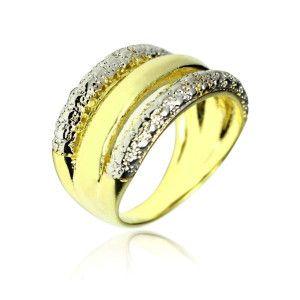 Inel placat cu aur galben si alb de 18 k, colectia clasic